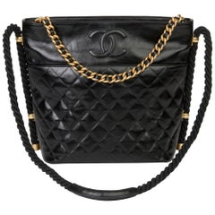 2019 Chanel Black Quilted Aged Calfskin Leather En Vogue Hobo Bag