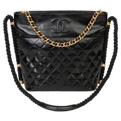 2019 Chanel Black Quilted Aged Calfskin Leather En Vogue Hobo Bag