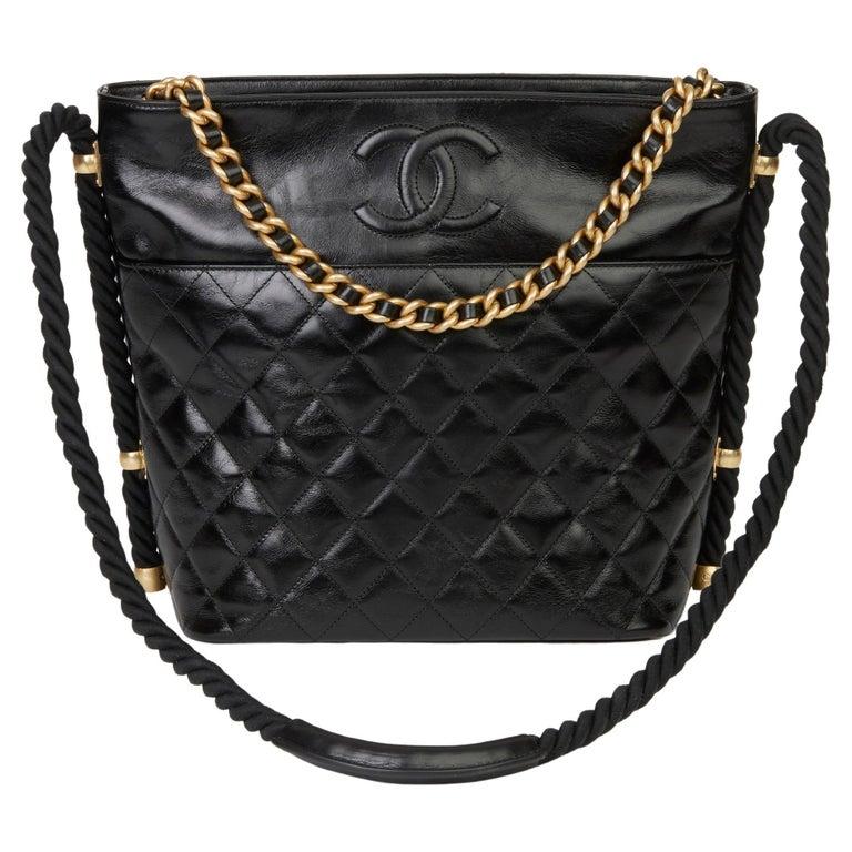 2019 Chanel Black Quilted Aged Calfskin Leather En Vogue Hobo Bag For Sale