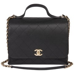 2019 Chanel Black Quilted Calfskin Leather Classic Top Handle Shoulder Bag