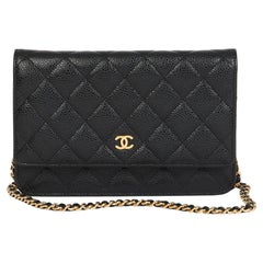 2019 Chanel Black Quilted Caviar Leather Wallet-on-Chain WOC