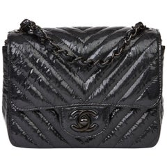2019 Chanel Black Quilted Crumpled Metallic Calfskin SO Black Mini Flap Bag