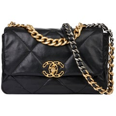 2019 Chanel Black Quilted Goatskin Small 19 Flap Bag