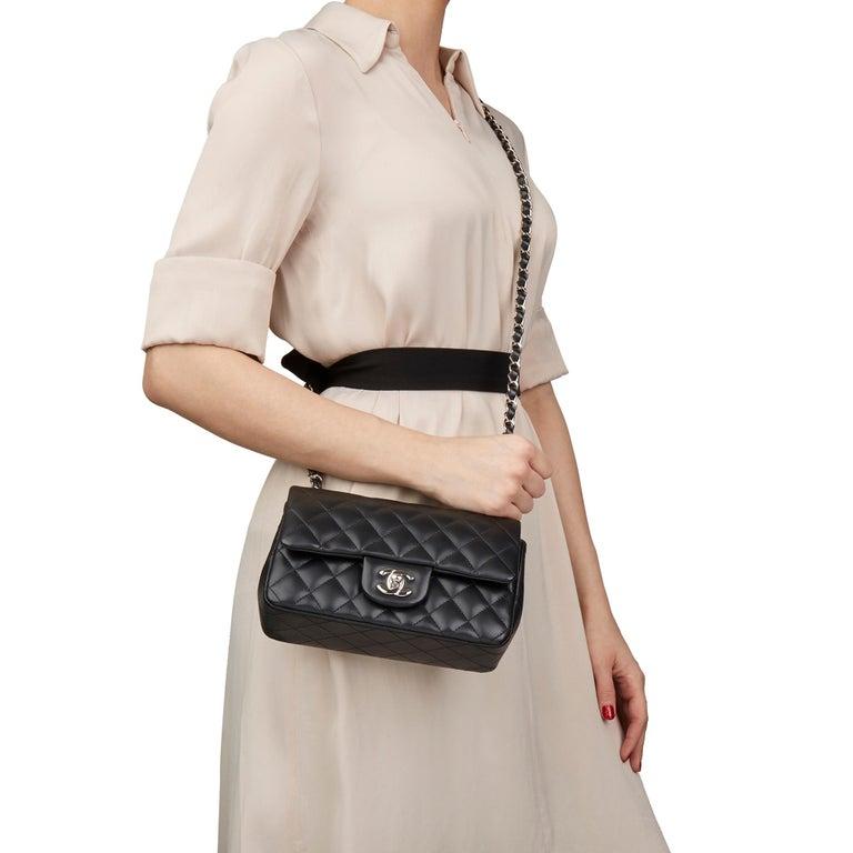 2019 Chanel Black Quilted Lambskin Rectangular Mini Flap