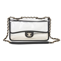 2019 Chanel Clear PVC & Black Lambskin Leather Naked Sand by the Sea Flap Bag