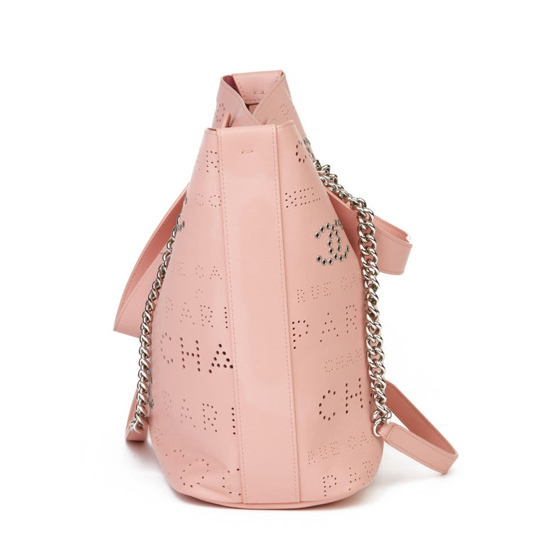 2019 Chanel Pink Calfskin Leather Logo Eyelets Shopping Tote with Tweed Pouch In Excellent Condition For Sale In Bishop's Stortford, Hertfordshire