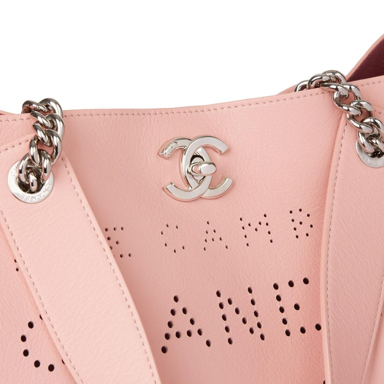 2019 Chanel Pink Calfskin Leather Logo Eyelets Shopping Tote with Tweed Pouch For Sale 1