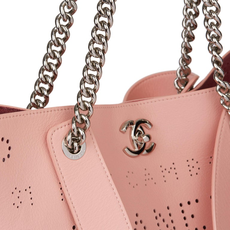 2019 Chanel Pink Calfskin Leather Logo Eyelets Shopping Tote with Tweed Pouch For Sale 2