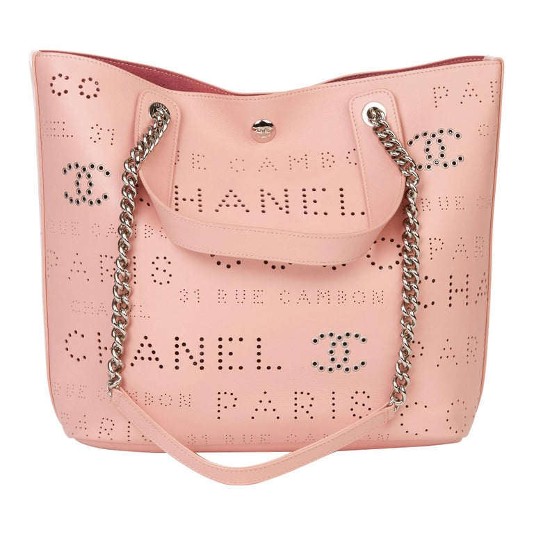 2019 Chanel Pink Calfskin Leather Logo Eyelets Shopping Tote with Tweed Pouch For Sale