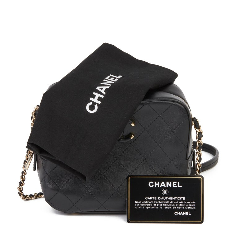 Black 2019 Chanel Quilted Calfskin Mini Classic Camera Bag  For Sale