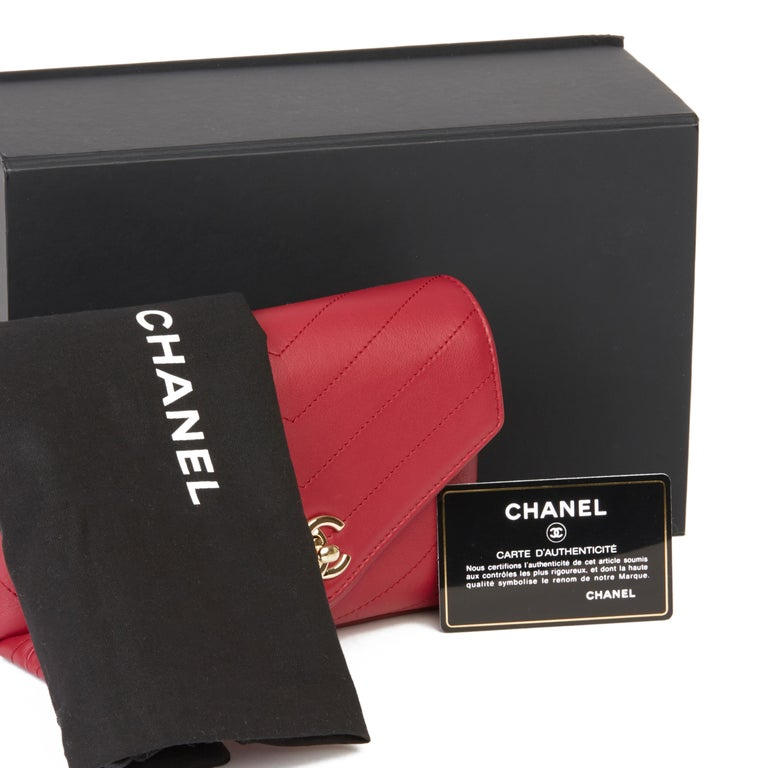 2019 Chanel Red Chevron Quilted Calfskin Leather Coco Waist Bag For Sale 7