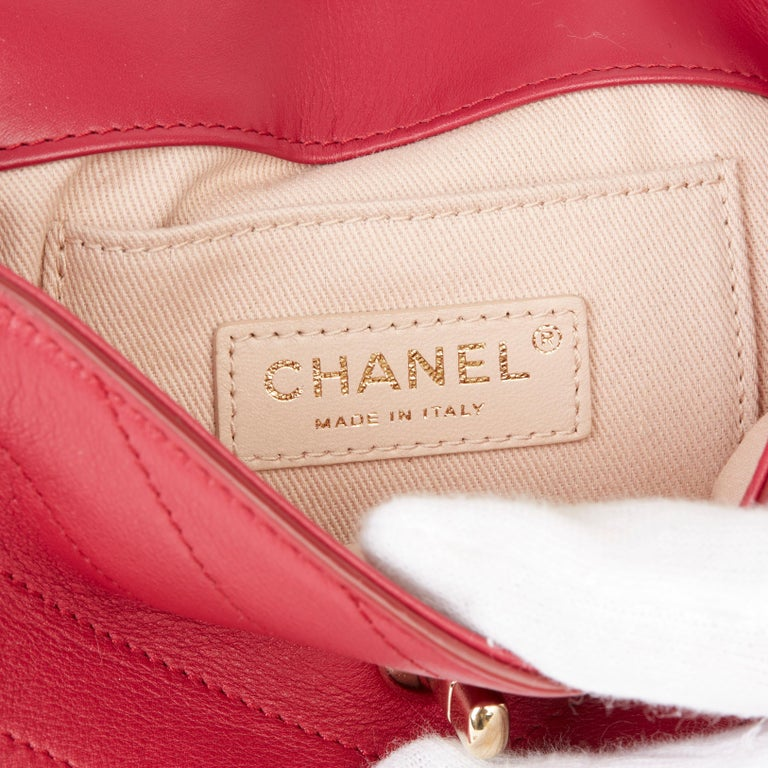 2019 Chanel Red Chevron Quilted Calfskin Leather Coco Waist Bag For Sale 4
