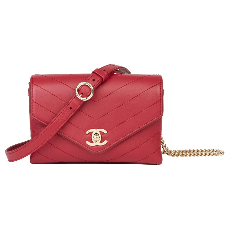 2019 Chanel Red Chevron Quilted Calfskin Leather Coco Waist Bag For Sale