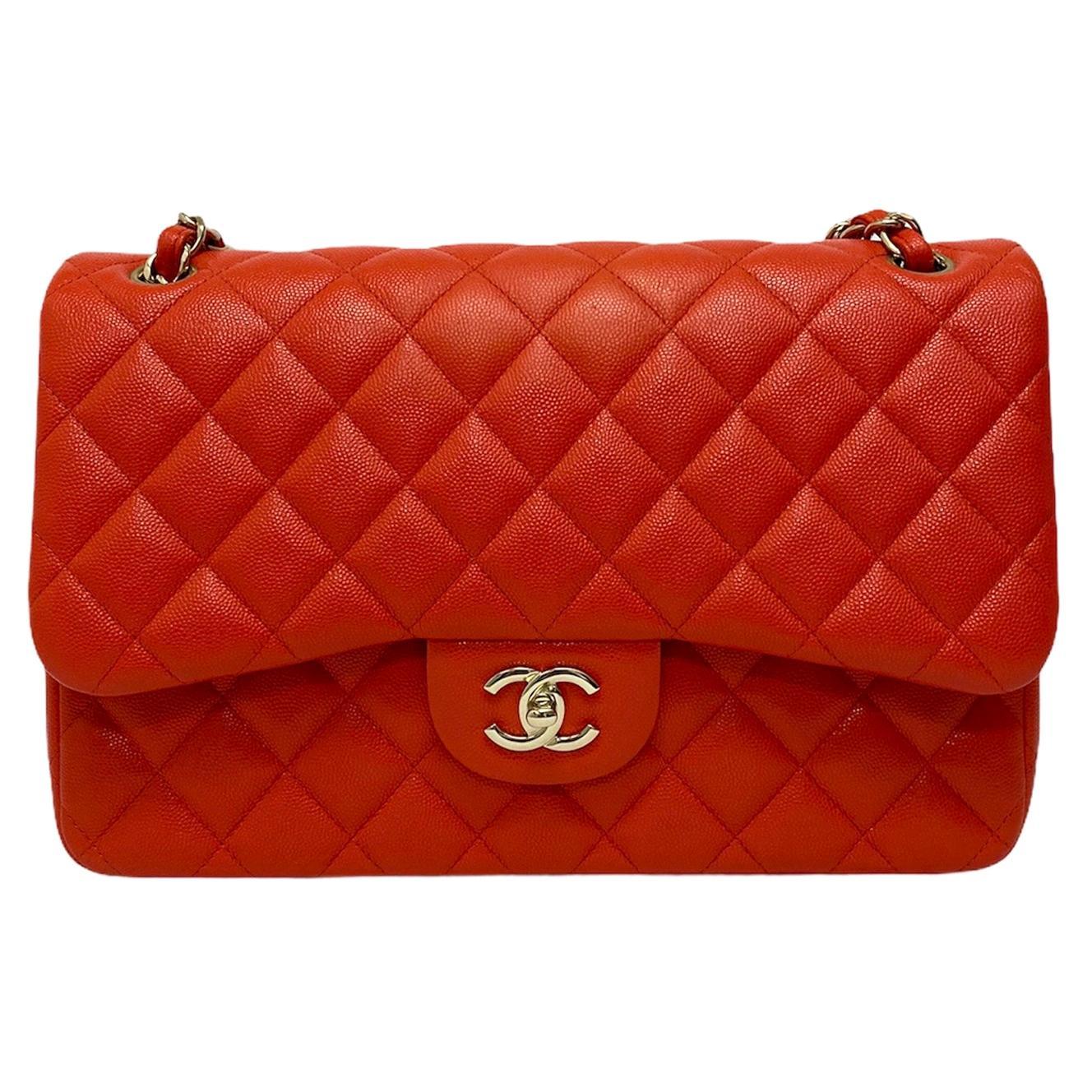 2019 Chanel Red Leather Maxi Jumbo Bag