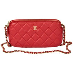 2019 Chanel Red Quilted Lambskin Double Zip Wallet-on-Chain WOC