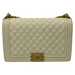 2019 Chanel White Leather Boy Bag