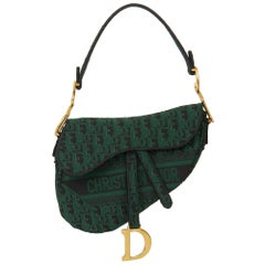 2019 Christian Dior Green & Black Oblique Canvas Saddle Bag