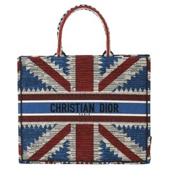 2019 Christian Dior Red, White & Blue Canvas Union Jack Book Tote