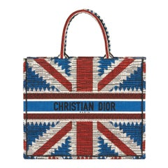 2019 Christian Dior Red, White & Blue Union Jack Book Tote
