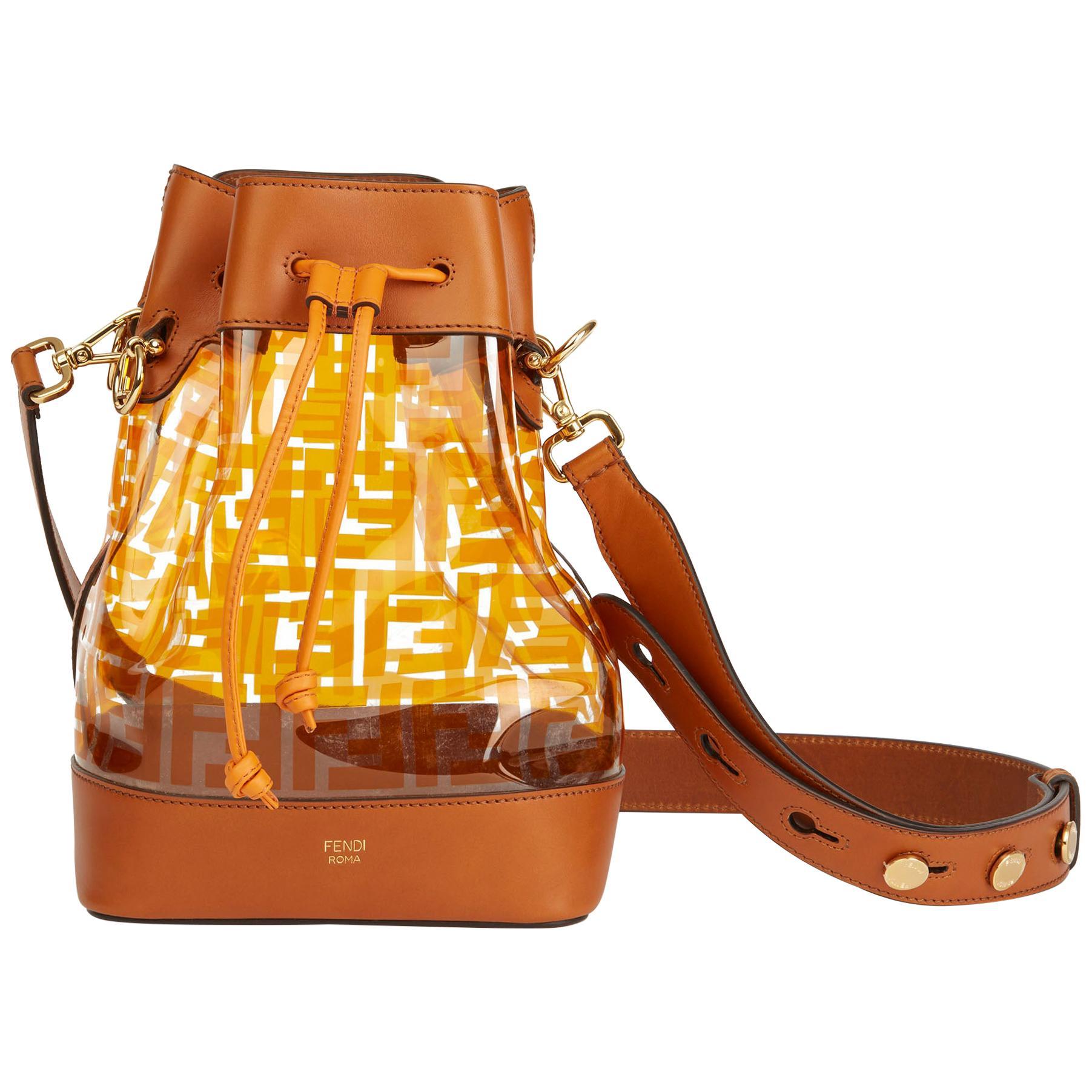 2019 Fendi Brown Calfskin Leather & Monogram PVC Mon Tresor Bucket Bag