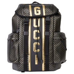 2019 Gucci Black & Gold Monogram Calfskin Leather & Gold Python Leather Dapper D