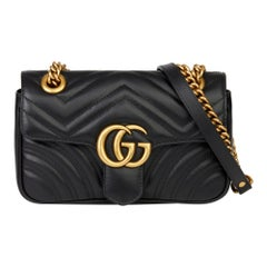 2019 Gucci Black Quilted Calfskin Leather Mini Marmont