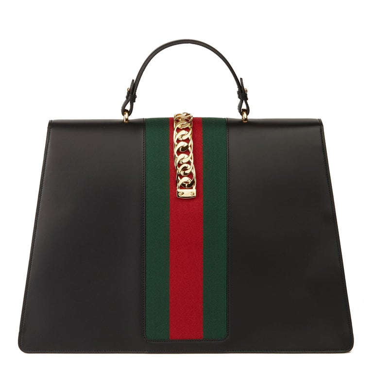 Women's 2019 Gucci Black Smooth Calfskin Leather Sylvie Top Handle Duffle Bag  For Sale