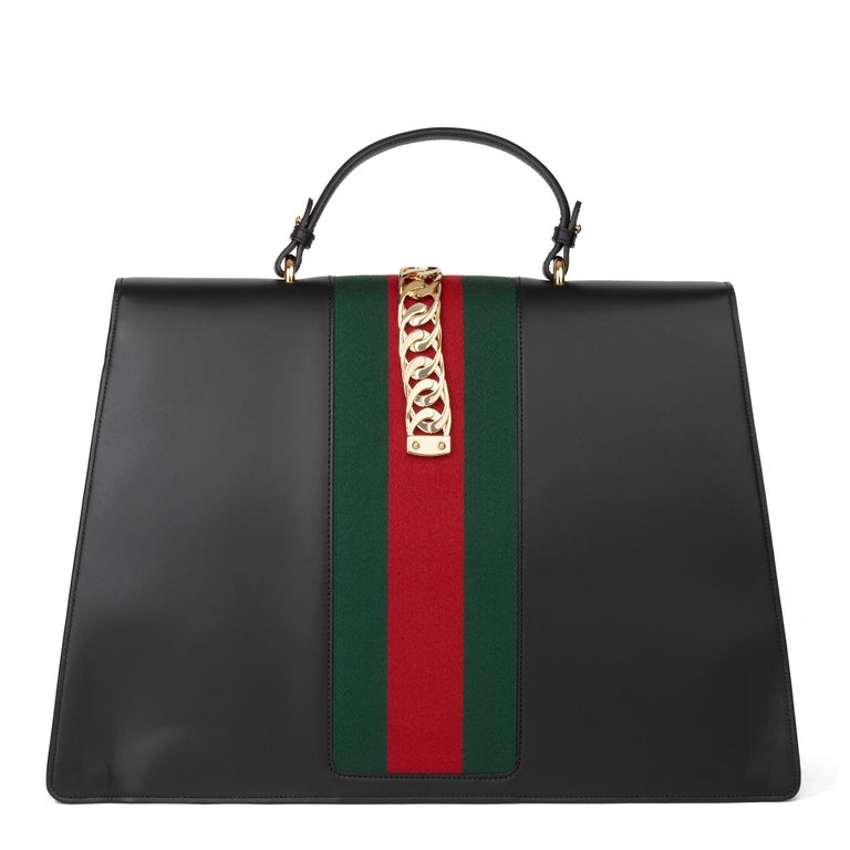 2019 Gucci Black Smooth Calfskin Leather Sylvie Top Handle Duffle Bag  For Sale 1