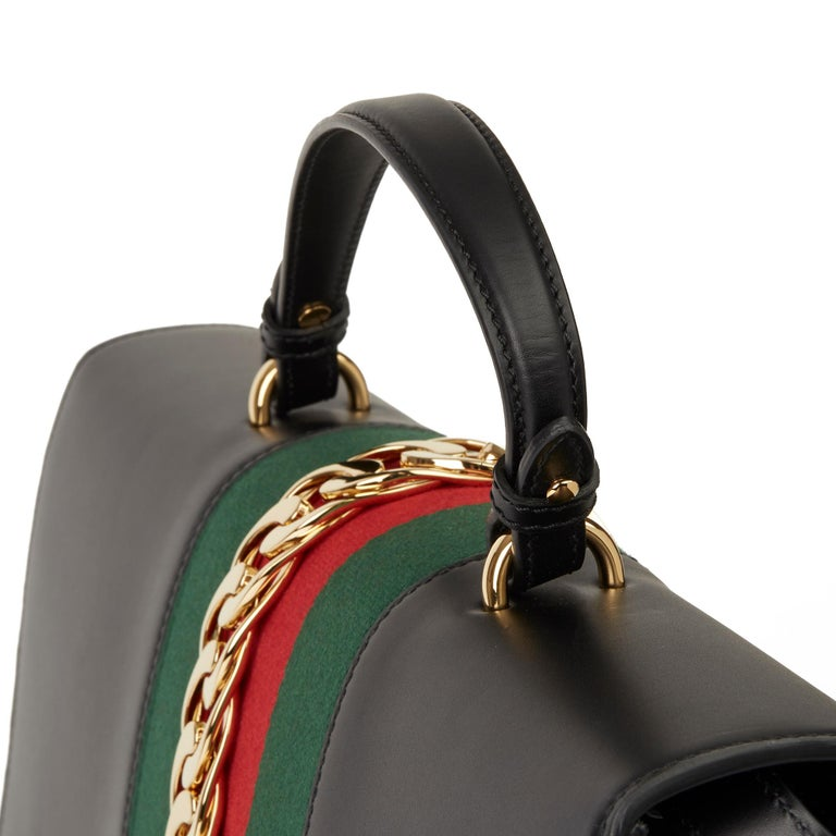 2019 Gucci Black Smooth Calfskin Leather Sylvie Top Handle Duffle Bag  For Sale 3