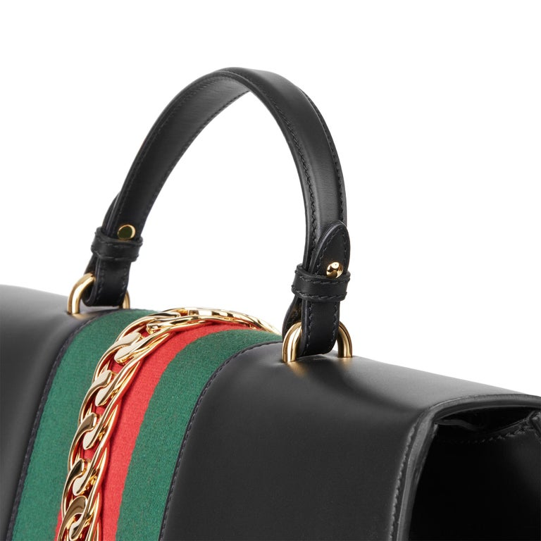 2019 Gucci Black Smooth Calfskin Leather Sylvie Top Handle Duffle Bag  For Sale 4