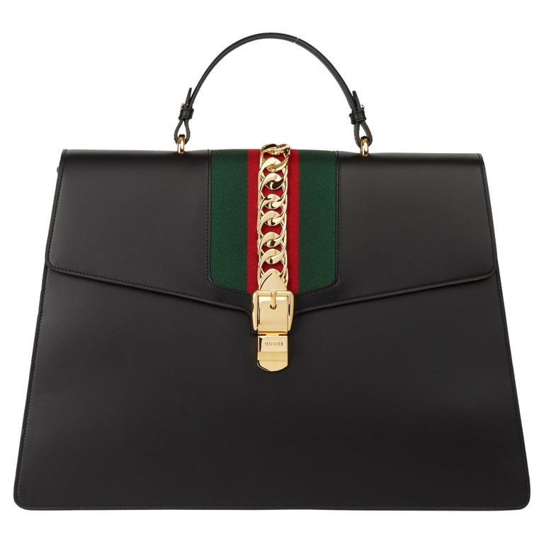 2019 Gucci Black Smooth Calfskin Leather Sylvie Top Handle Duffle Bag For Sale