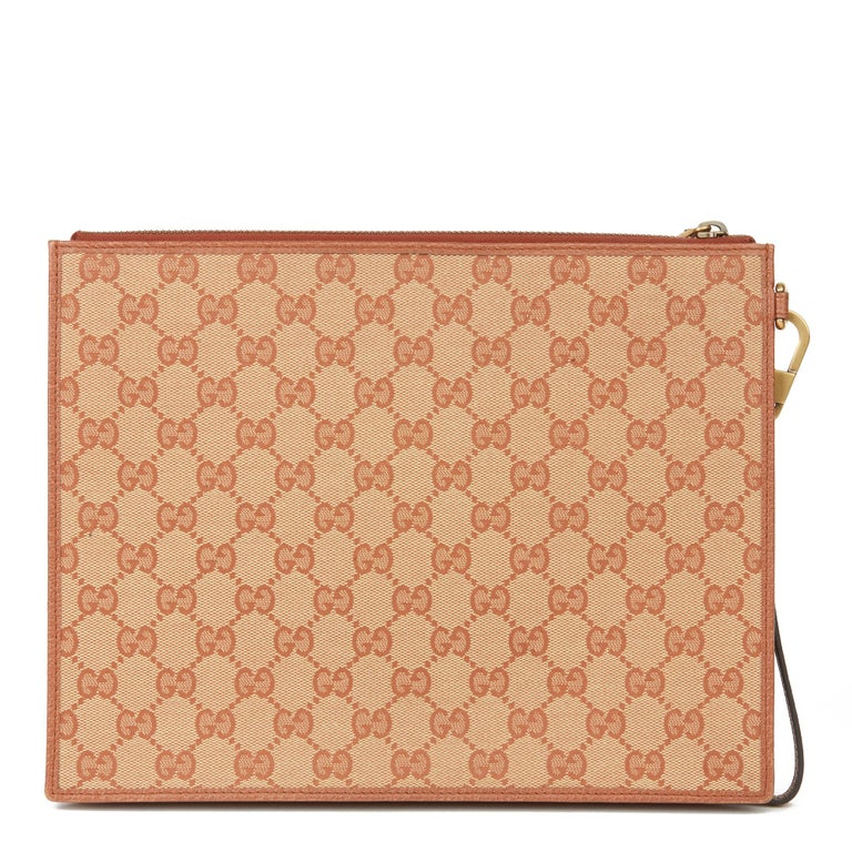 Women's 2019 Gucci Brick Monogram Canvas Yankees Pouch For Sale