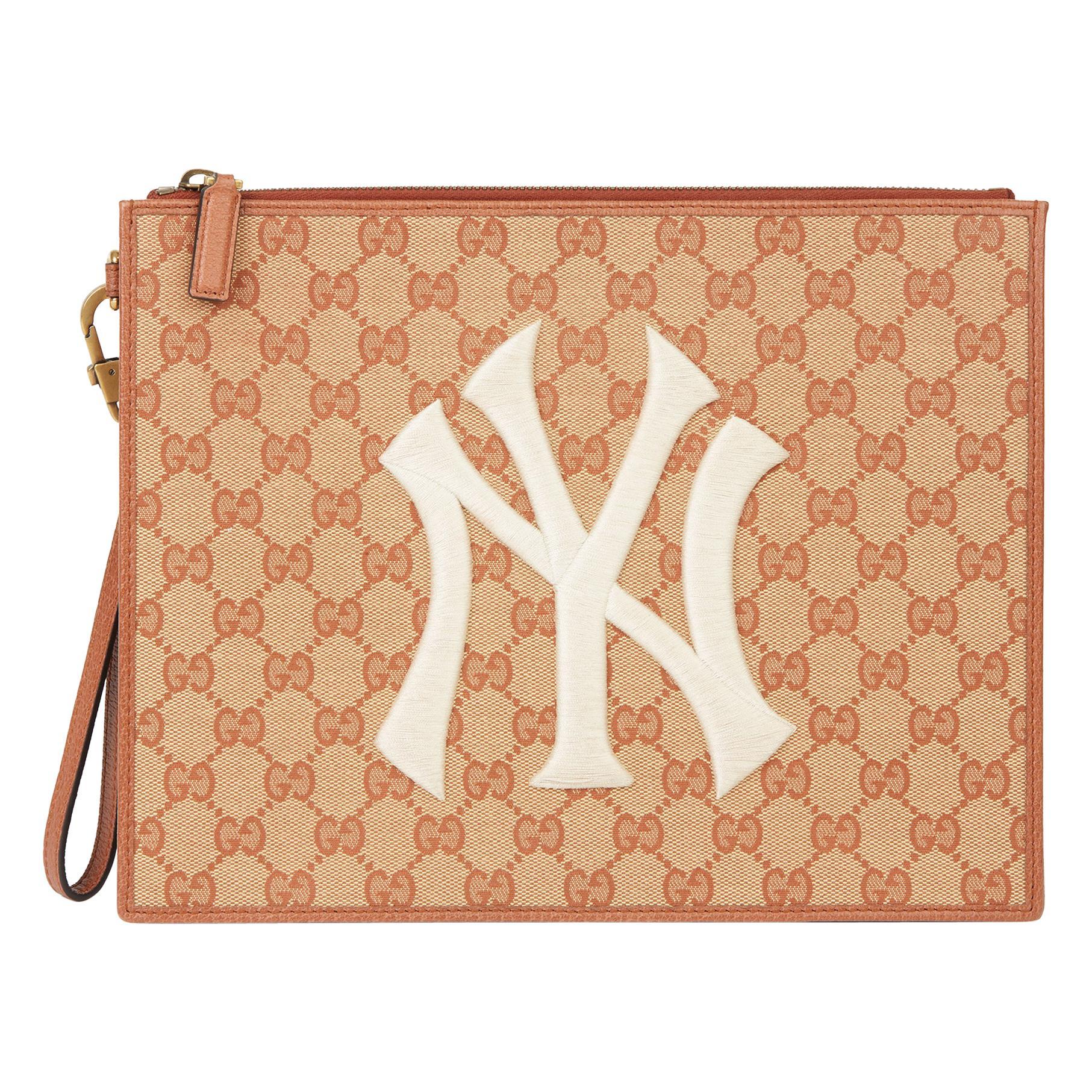 2019 Gucci Brick Monogram Canvas Yankees Pouch