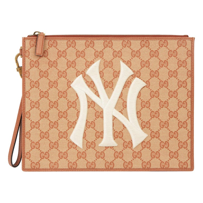 2019 Gucci Brick Monogram Canvas Yankees Pouch For Sale