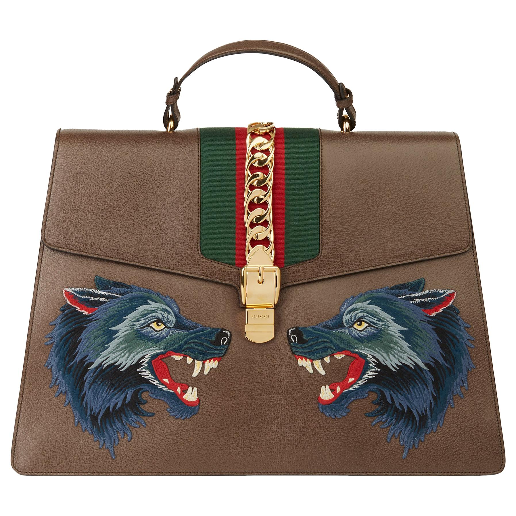 2019 Gucci Brown Pigskin Leather Sylvie Top Handle Duffle Bag