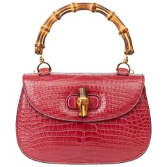 2019 Gucci Burgundy Alligator Leather Bamboo Classic Top Handle