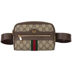 2019 Gucci GG Supreme Canvas & Brown Calfskin Leather Web Small Orphidia Belt Ba