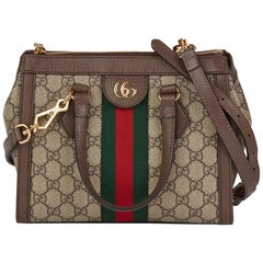 2019 Gucci GG Supreme Canvas & Brown Pigskin Leather Web Small Ophidia Tote Bag