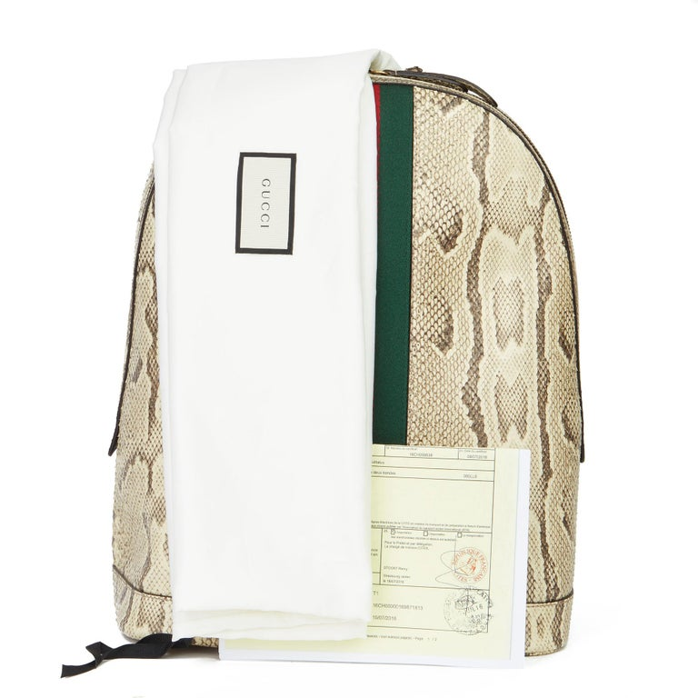 2019 Gucci Natural Animalier Python Leather & Web Backpack For Sale 6