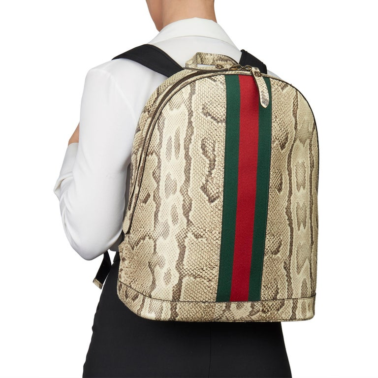 2019 Gucci Natural Animalier Python Leather & Web Backpack For Sale 7