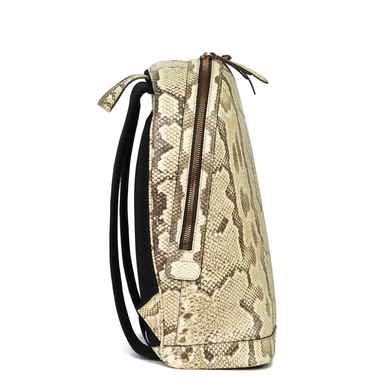 GUCCI Natural Animalier Python Leather & Web Backpack  Xupes Reference: HB3086 Serial Number: 442892 213317 Age (Circa): 2019 Accompanied By: Gucci Dust Bag, CITIES Authenticity Details: Serial Stamp (Made in Italy) Gender: Unisex Type: