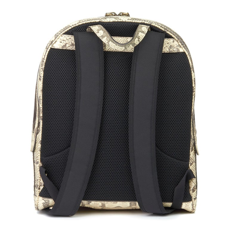 2019 Gucci Natural Animalier Python Leather & Web Backpack In Excellent Condition For Sale In Bishop's Stortford, Hertfordshire