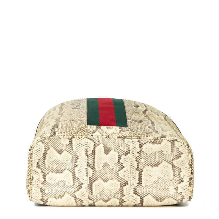 Women's or Men's 2019 Gucci Natural Animalier Python Leather & Web Backpack For Sale