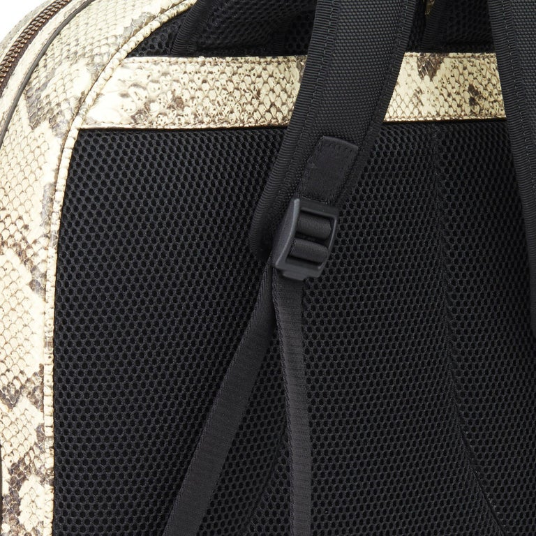 2019 Gucci Natural Animalier Python Leather & Web Backpack For Sale 2