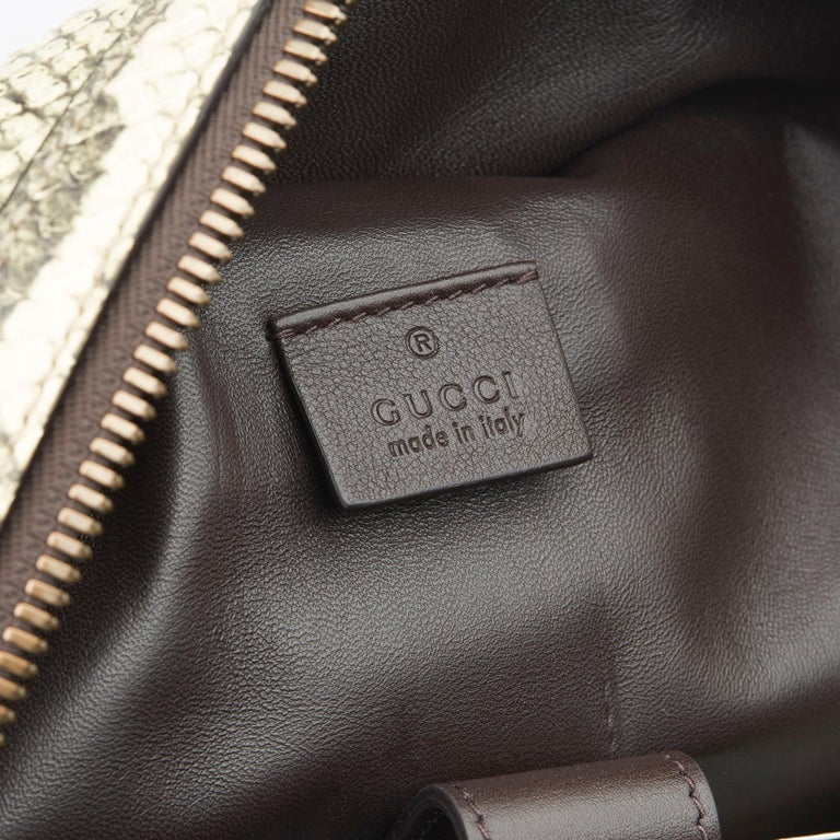 2019 Gucci Natural Animalier Python Leather & Web Backpack For Sale 3