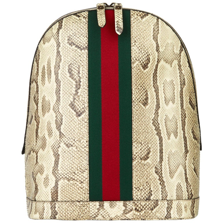 2019 Gucci Natural Animalier Python Leather & Web Backpack For Sale