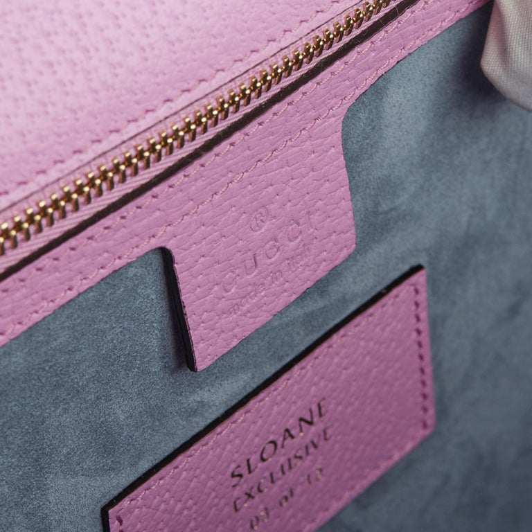 2019 Gucci Pink Pigskin Leather Crystallised Medium Sylvie Top Handle  6