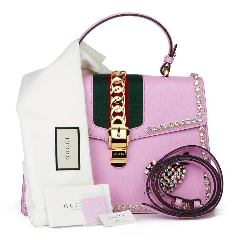 2019 Gucci Pink Pigskin Leather Crystallised Medium Sylvie Top Handle  9