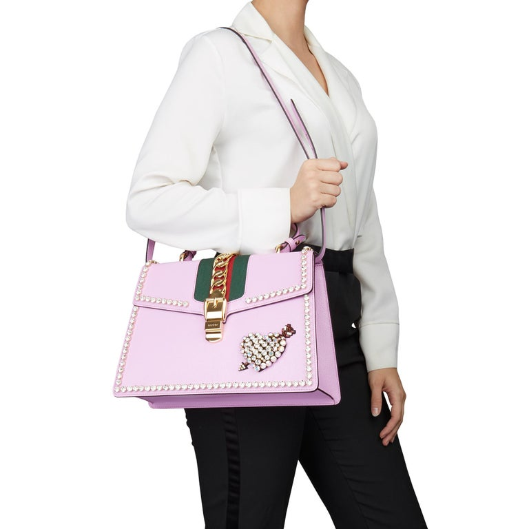 GUCCI Pink Pigskin Leather Crystallised Medium Sylvie Top Handle   Xupes Reference: HB3085 Serial Number: 431665 527066 Age (Circa): 2019 Accompanied By: Gucci Dust Bag, Care Booklet, Leather Swatch, Shoulder Strap Authenticity Details: Serial Stamp