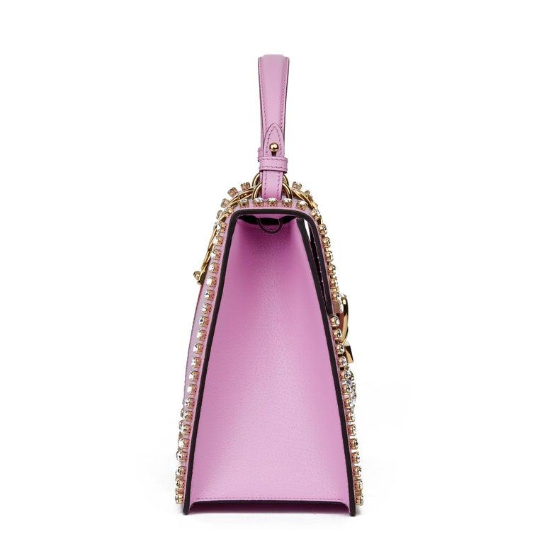 2019 Gucci Pink Pigskin Leather Crystallised Medium Sylvie Top Handle  In Excellent Condition In Bishop's Stortford, Hertfordshire